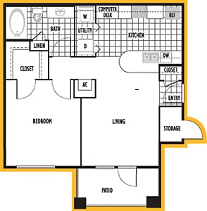 695 sq. ft. San Sebastian floor plan