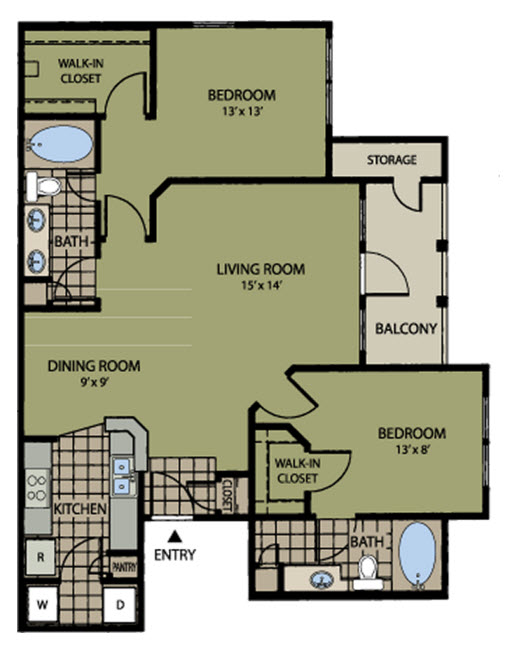 1,032 sq. ft. to 1,044 sq. ft. Dominion floor plan