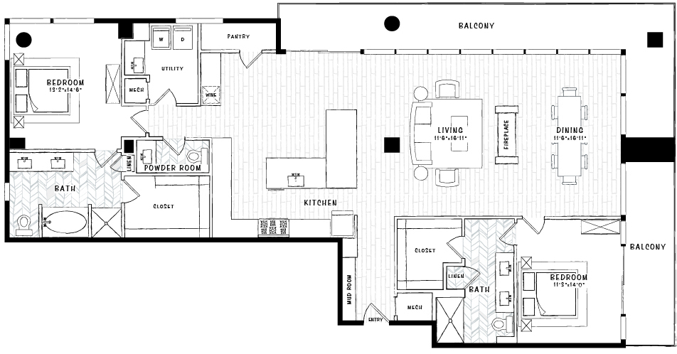 2,064 sq. ft. PH2 floor plan