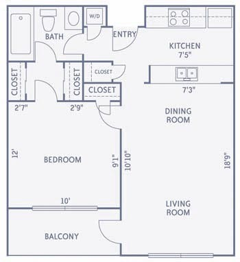 560 sq. ft. to 570 sq. ft. A2/A2A floor plan