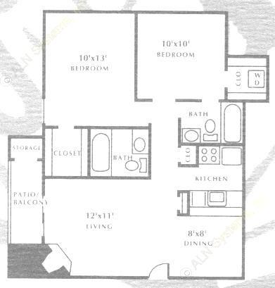 773 sq. ft. B1 floor plan