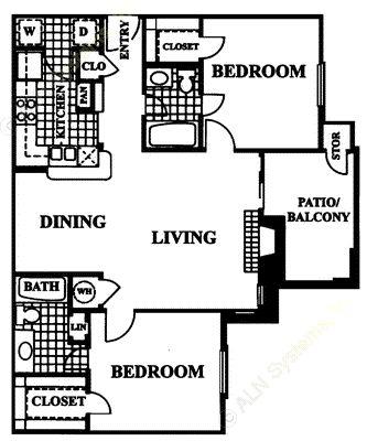 968 sq. ft. Aragon floor plan