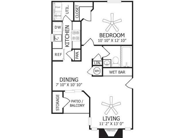 650 sq. ft. A2/A3 floor plan
