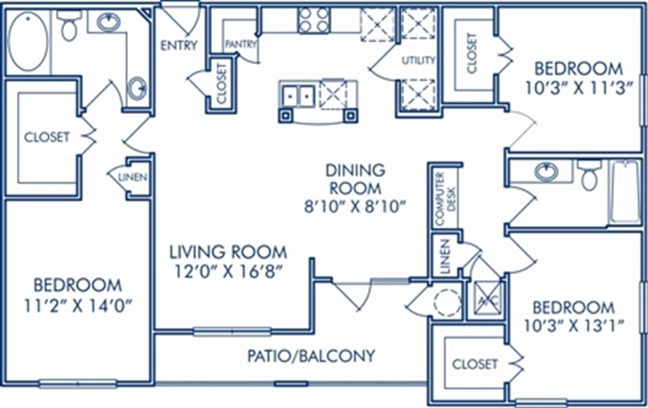 1,364 sq. ft. H floor plan