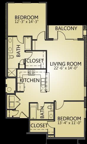 1,285 sq. ft. B4 floor plan