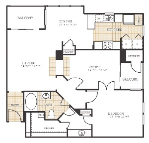 1,075 sq. ft. B1 floor plan