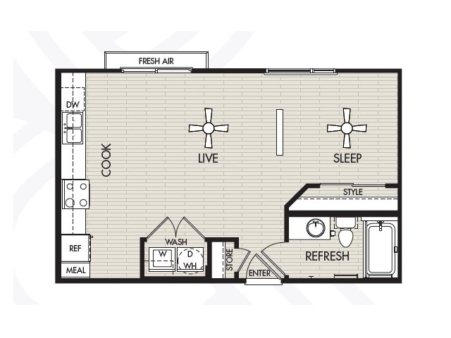 590 sq. ft. E1a floor plan