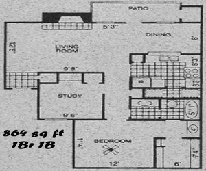 864 sq. ft. B1 floor plan
