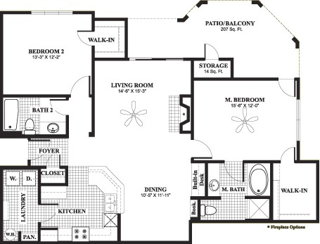 1,181 sq. ft. D6 floor plan