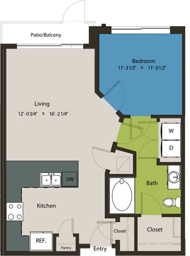 721 sq. ft. A1C floor plan