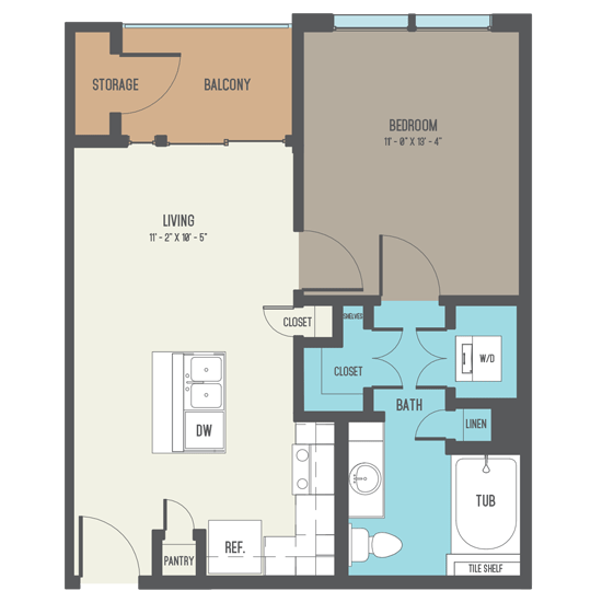 579 sq. ft. A1-A floor plan