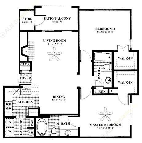 1,062 sq. ft. Parlor floor plan