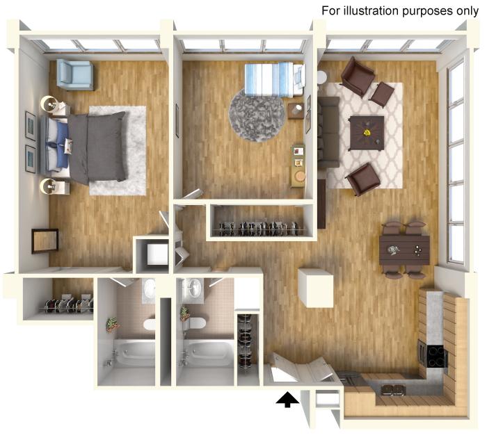 1,200 sq. ft. A4 floor plan