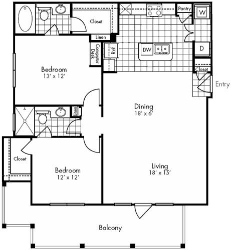 1,231 sq. ft. COMMERCE floor plan