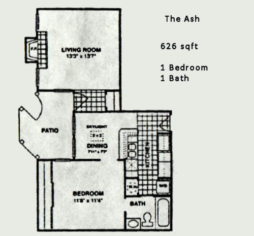 626 sq. ft. Ash floor plan