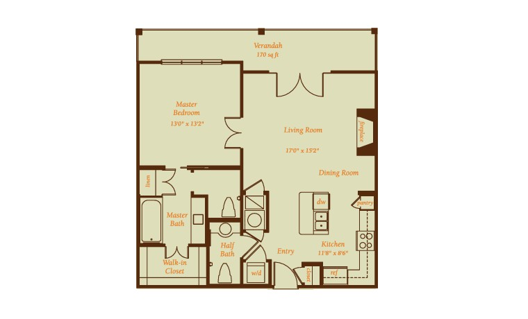 1,055 sq. ft. Andalucia floor plan