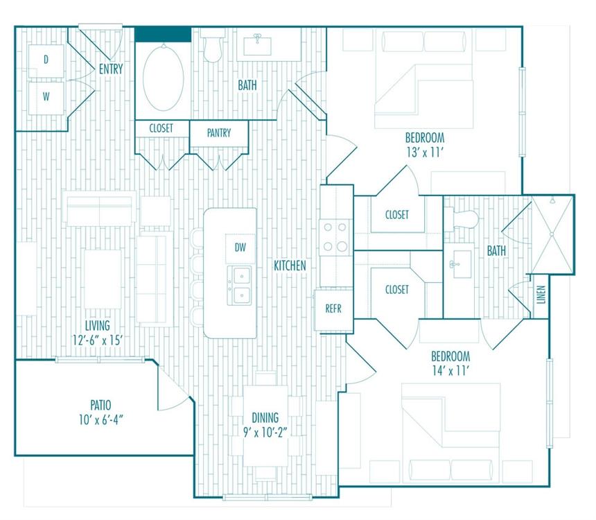 1,042 sq. ft. C floor plan
