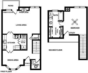 1,068 sq. ft. C floor plan
