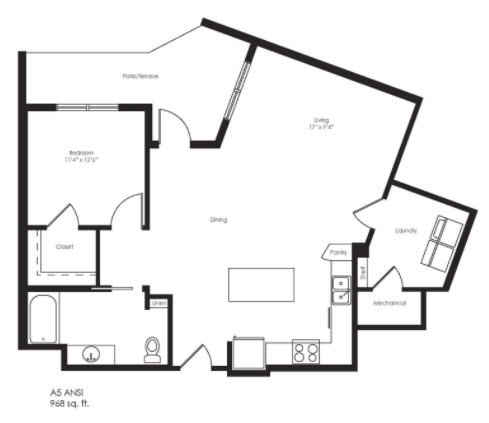 968 sq. ft. A5 floor plan