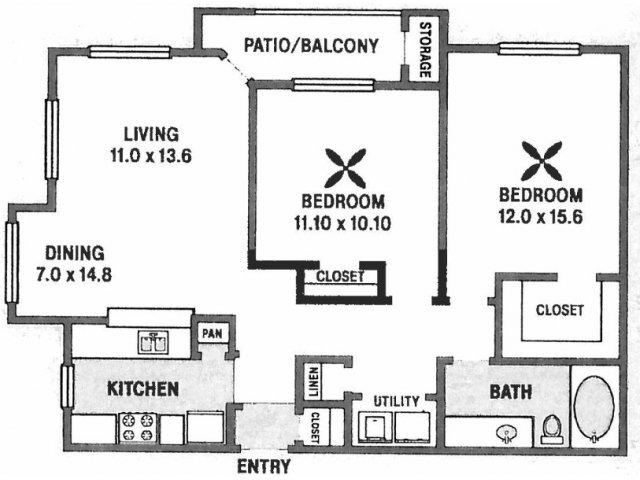 995 sq. ft. B4 floor plan