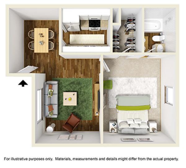 617 sq. ft. floor plan