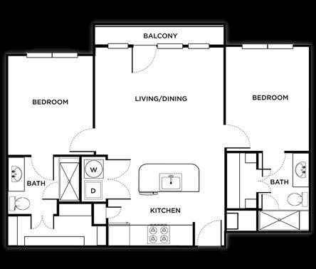 907 sq. ft. Turin floor plan