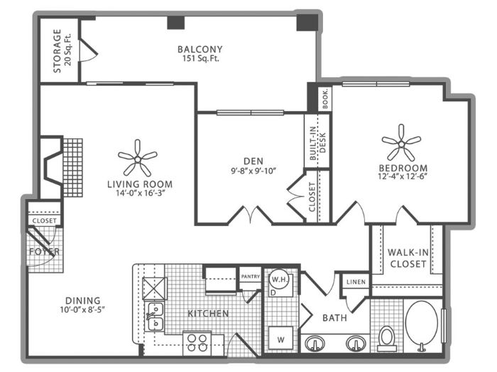 960 sq. ft. A4 floor plan