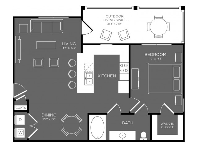 804 sq. ft. Canopy floor plan