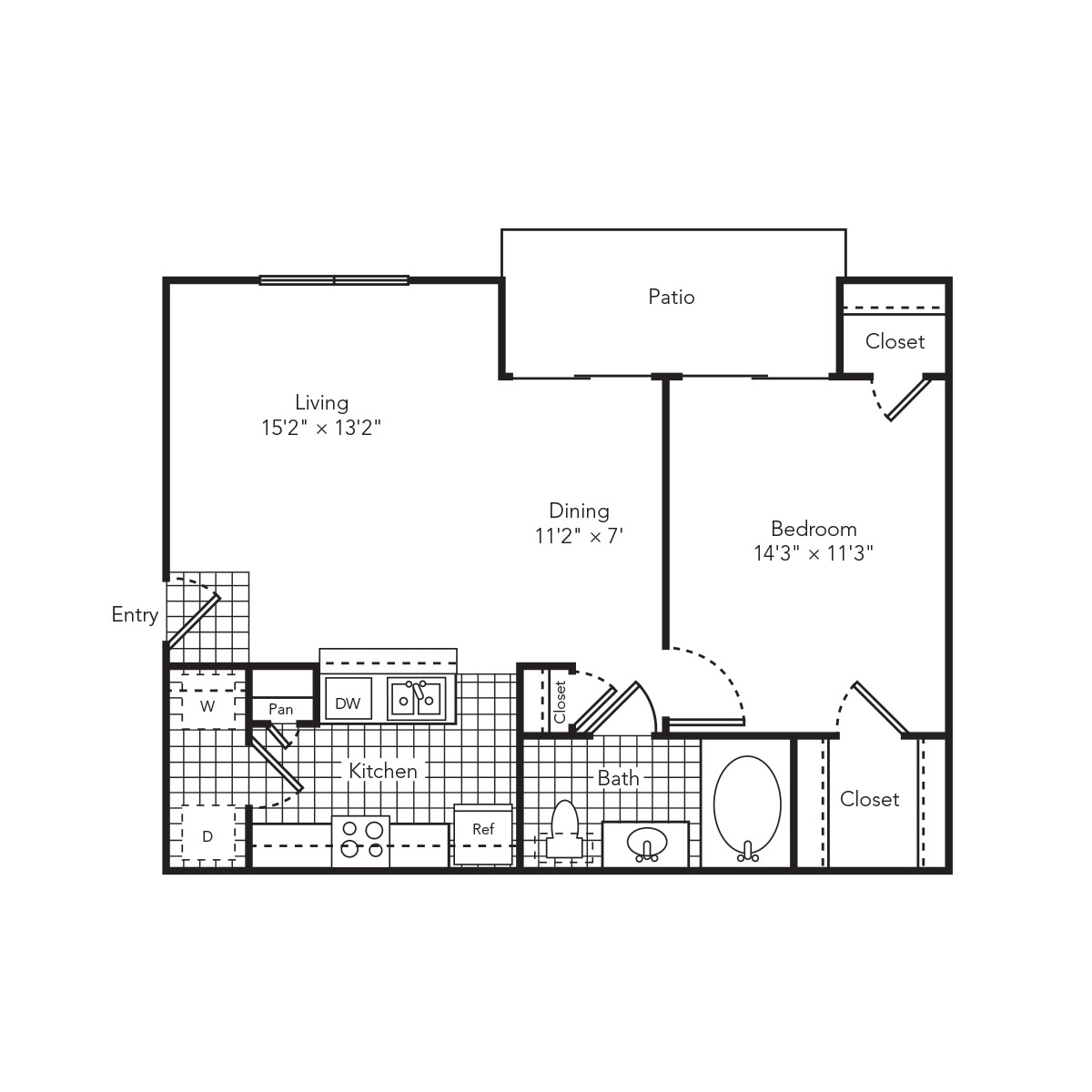 722 sq. ft. Aqua floor plan