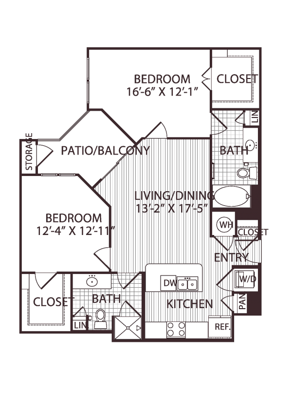 1,038 sq. ft. B1 floor plan