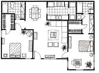 1,152 sq. ft. D floor plan