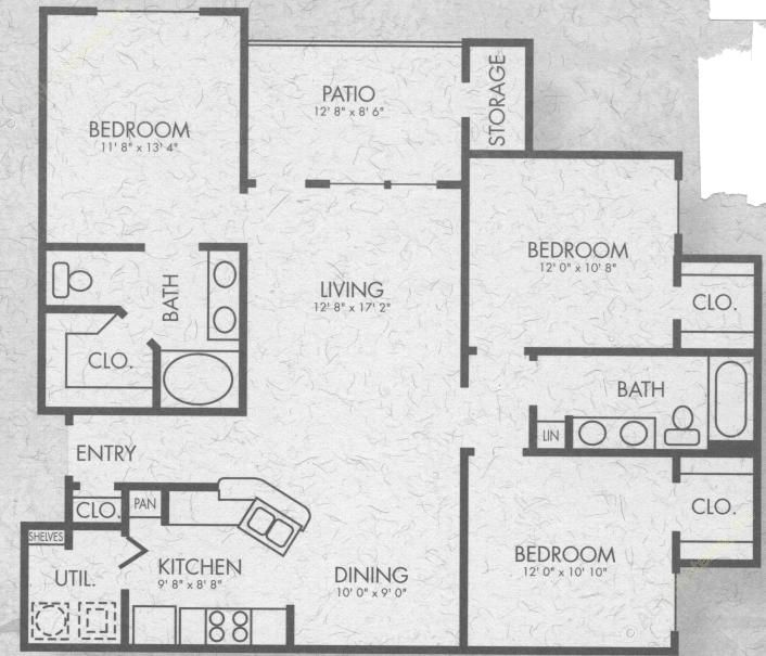 1,233 sq. ft. C1 floor plan