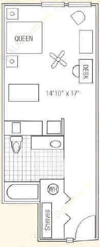 455 sq. ft. to 491 sq. ft. Guest Suite floor plan