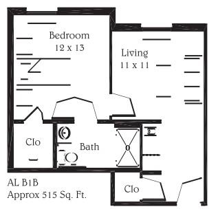 515 sq. ft. B1B floor plan