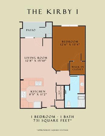 731 sq. ft. Kirby I/60 floor plan