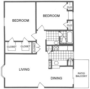 960 sq. ft. Lubbock floor plan