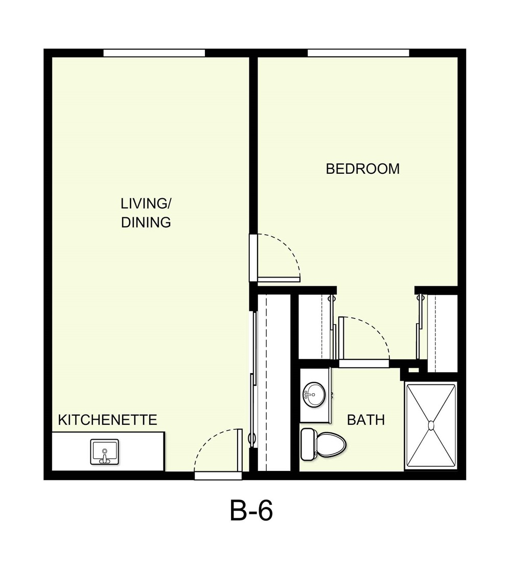 600 sq. ft. B6 floor plan