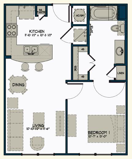 614 sq. ft. floor plan