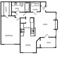 854 sq. ft. 60% floor plan