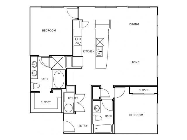 1,231 sq. ft. B4-E floor plan