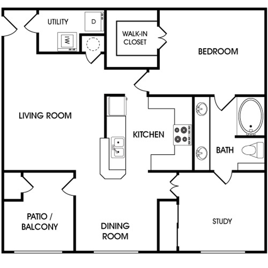 1,004 sq. ft. A4 floor plan