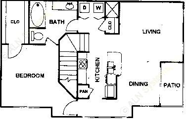 933 sq. ft. Pinzon floor plan