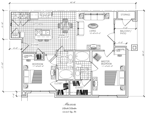 1,115 sq. ft. B3 floor plan