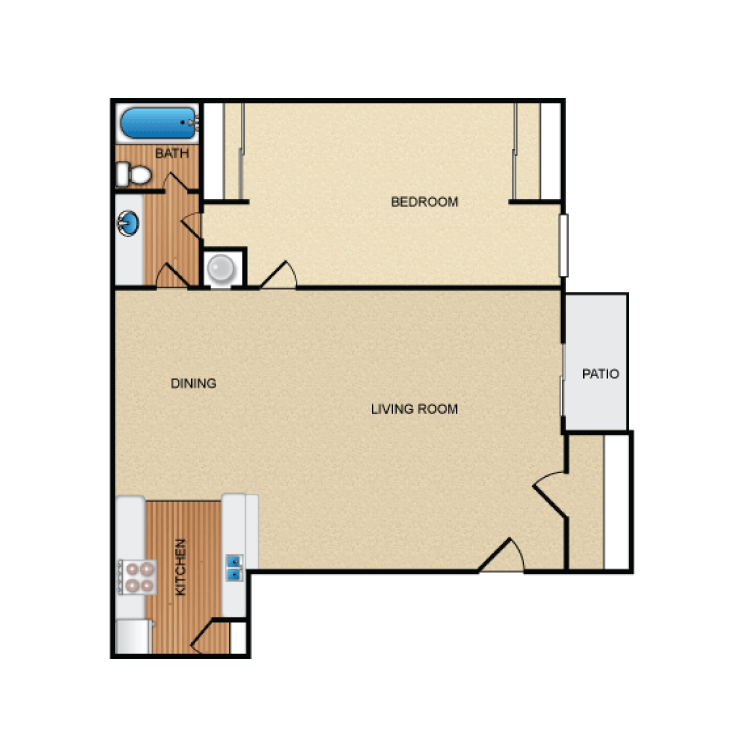 683 sq. ft. A2 floor plan