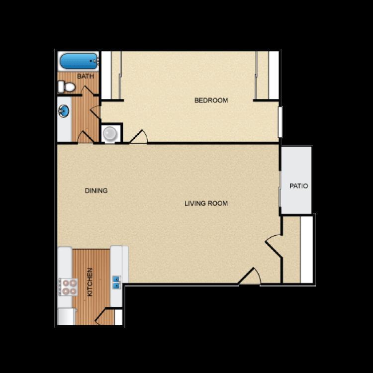 685 sq. ft. A2 floor plan