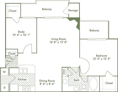 913 sq. ft. A4 floor plan