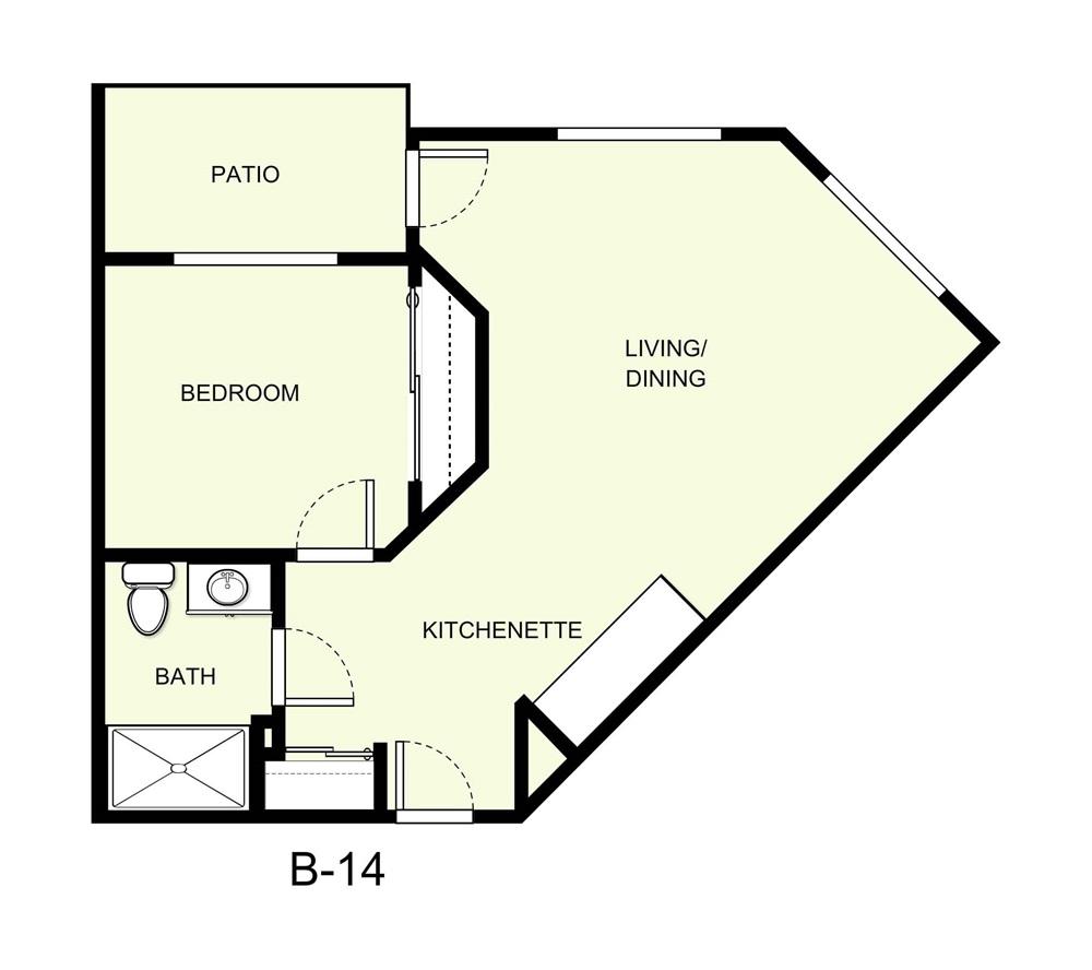 578 sq. ft. B14 floor plan