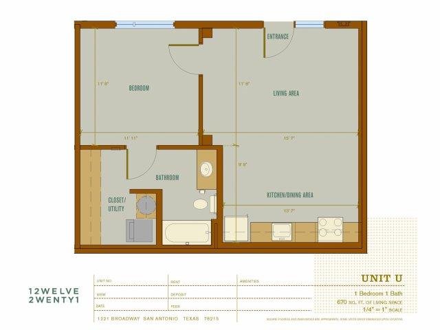 670 sq. ft. U floor plan