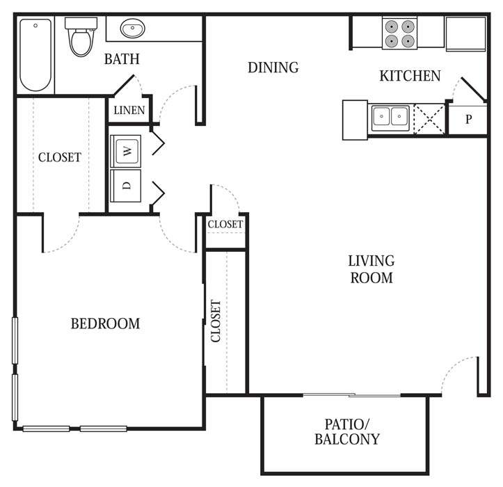 806 sq. ft. A5 floor plan