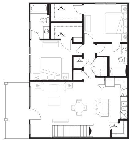 1,152 sq. ft. Overlook floor plan